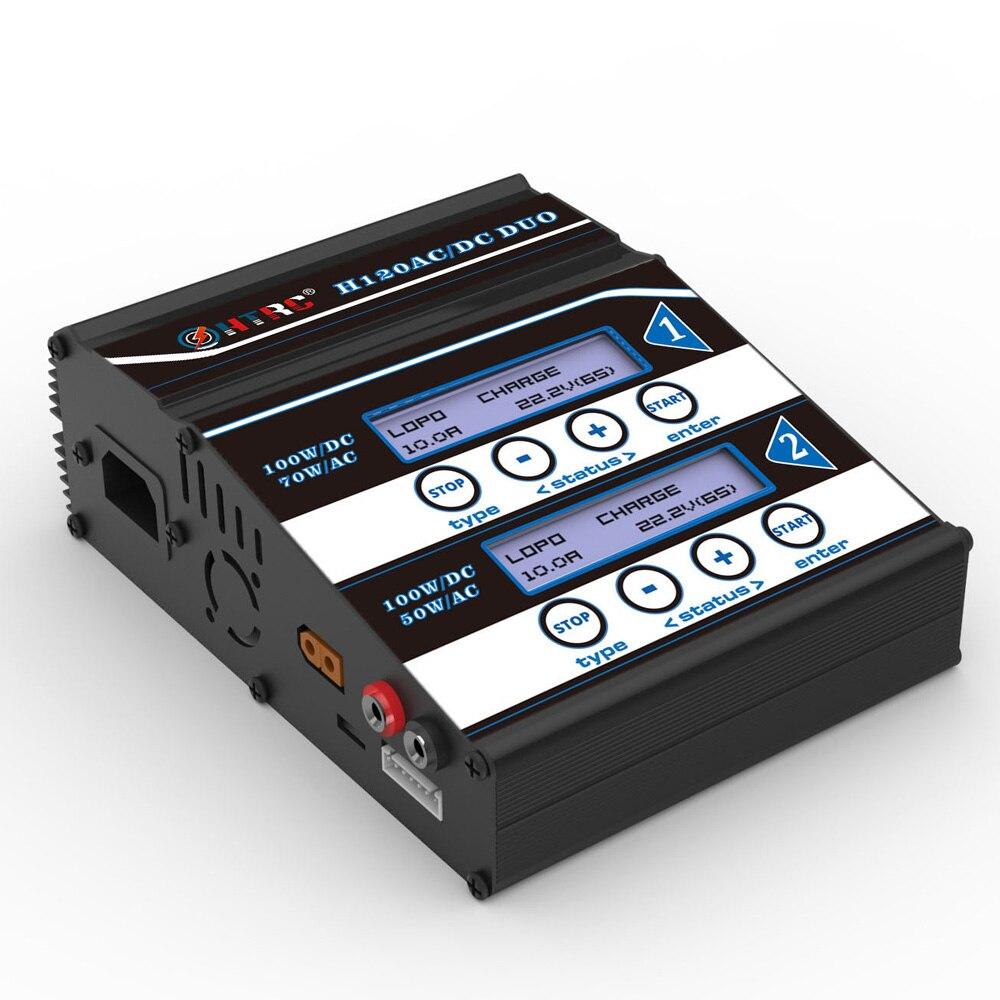 HTRC H120 podwójne wyjście 50 W/70 W 100W * 2 10A AC/DC RC równowagi baterii ładowarka/odstojnik dla Lilon/LiPo/LiFe/LiHV/akumulatora Pb w Części i akcesoria od Zabawki i hobby na  Grupa 2