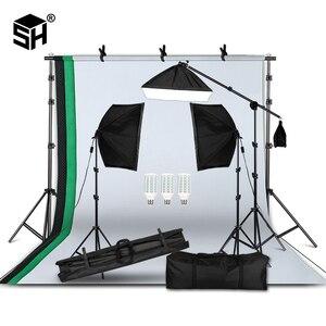 Image 1 - Fotografia professionale Apparecchi di Illuminazione Kit con Softbox sfondo Morbido del basamento con boom arm Fondali Luce Photo Studio