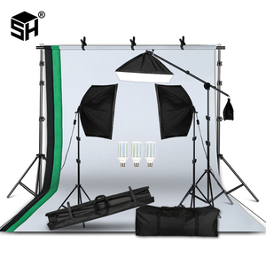 Image 1 - Professional Photography Lighting Equipment Kit with Softbox Soft background stand with boom arm Backdrops Light Photo Studio