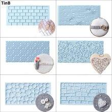 6 pçs/set Casca Tijolo Fronteira Bolo Decoração Molde Fondant Molde Para O Cozimento Textura De Plástico Acessórios de Pastelaria Cozimento Ferramentas Bolo