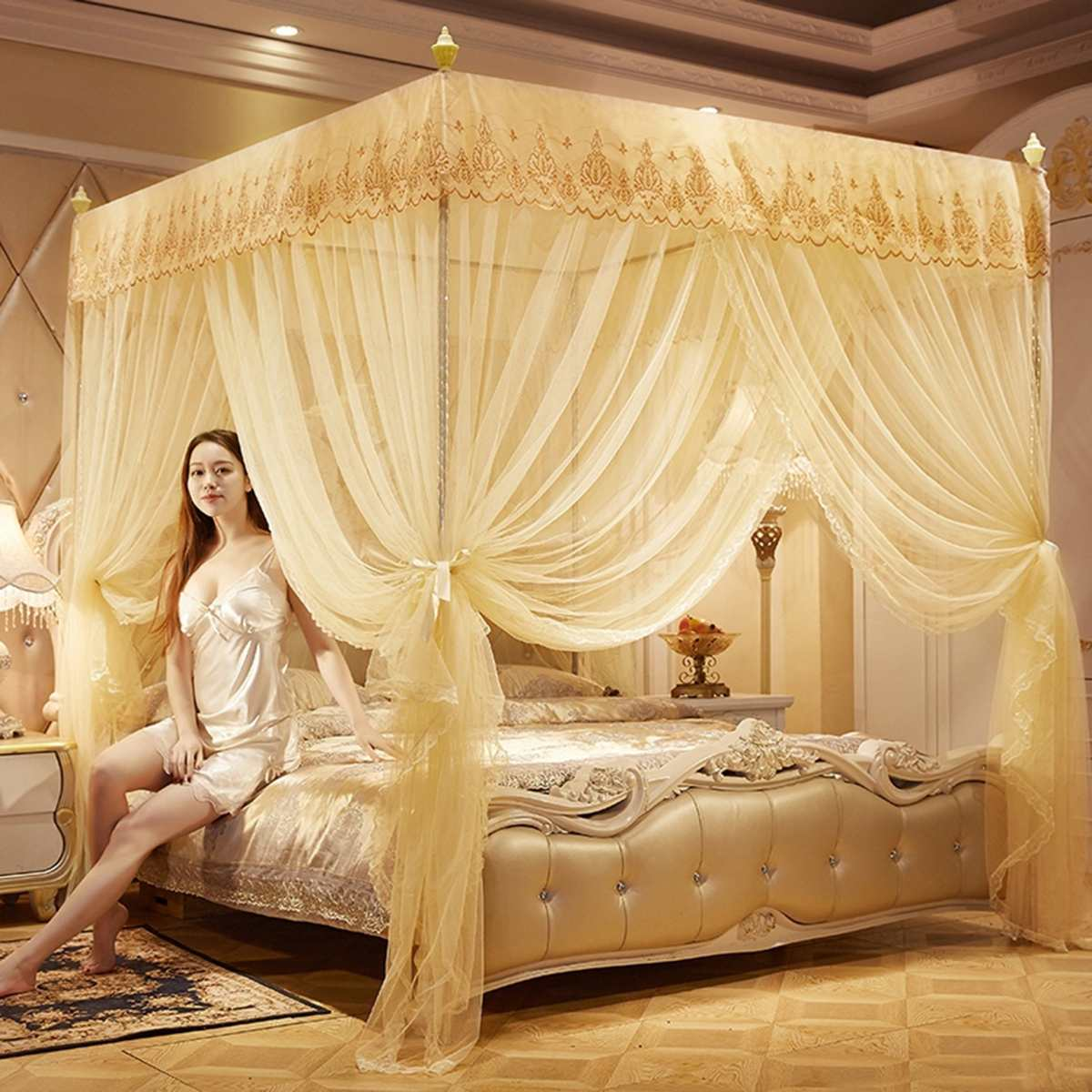 Elegant Canopy Mosquito Net For Double Bed Mosquito Repellent Tent Insect Reject Canopy Bed Curtain Bed Tent