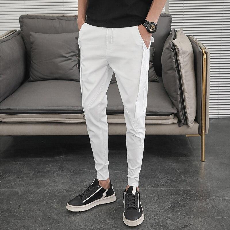 Korean Summer Pants Men Fashion Design 2020 Slim Fit Men Harem Pants Ankle Length Solid All Match Hip Hop Joggers Trousers Men