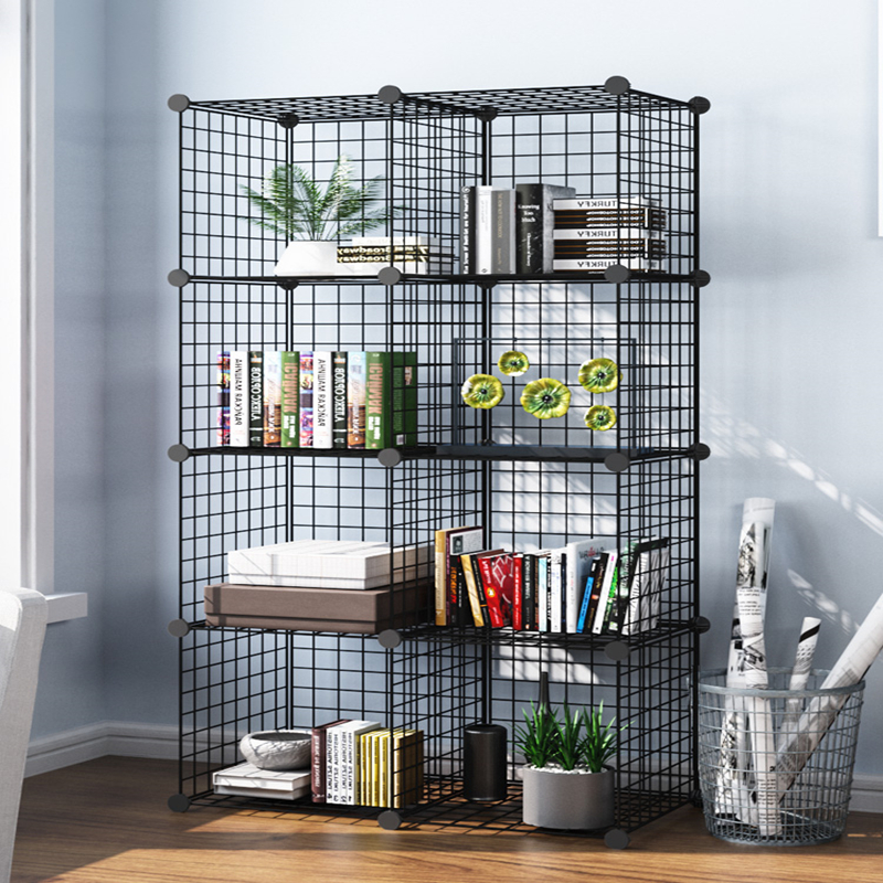 Bookshelf Rack Living Room Bookcase Children Floor Storage Shelf Iron Art Storage Cabinet Iron Object Rack