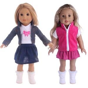 43 см Американская кукольная одежда, джинсовый костюм из трех предметов, футболка + пиджак + юбка для 18-дюймовых кукол Bew Bron And Rebron, детские игру...