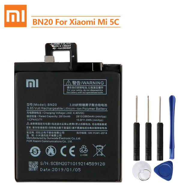 Xiao Mi oryginalna bateria zamienna BN20 dla Xiaomi Mi 5C M5C autentyczna bateria telefonu 2860mAh