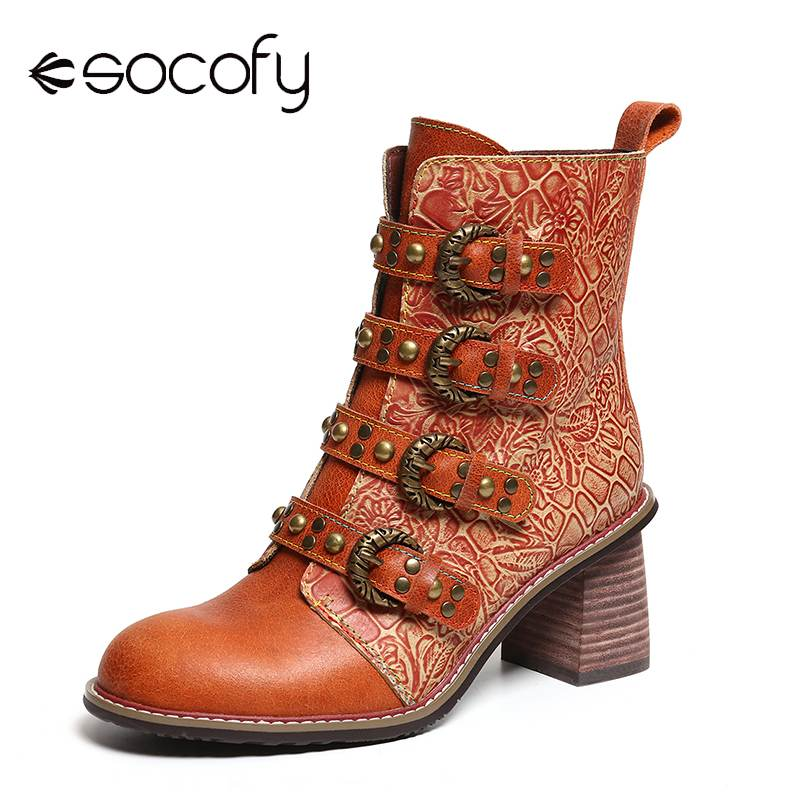SOCOFY Retro Boots Metal Buckle Rivet Genuine Leather Black Handsome High Heel Zipper Boots Shoes Women Botines Mujer 2019