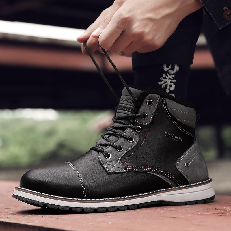 Coturno bottes hautes pour hommes en cuir bottes de neige d'hiver pour hommes imperméables avec de la fourrure garder au chaud bout rond chaussons en bois chaussures de terre