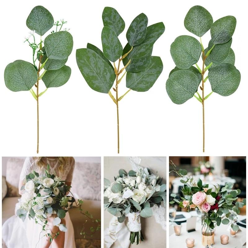 5 шт листьев эвкалипта гирляндой филиал зеленый поддельные растения искусственный цветок для свадьбы букет украшение для дома DIY ВЕНОК для ...