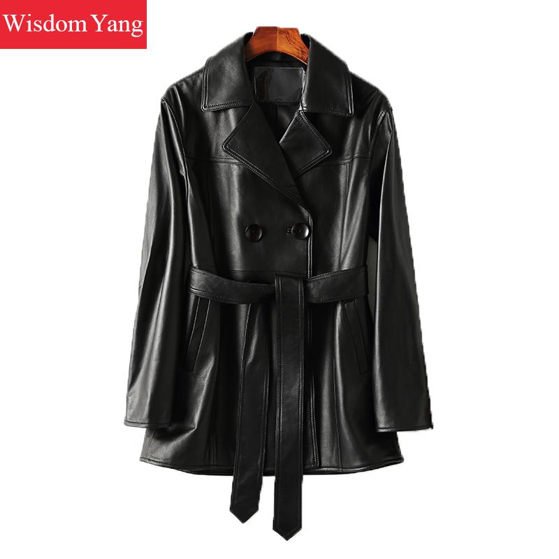 Autumn Black Sheepskin Genuine Leather Jackets Coat Womens Tops Overcoat Ladies Bomber Gothic Fur Jacket Wrap Coats Outerwear