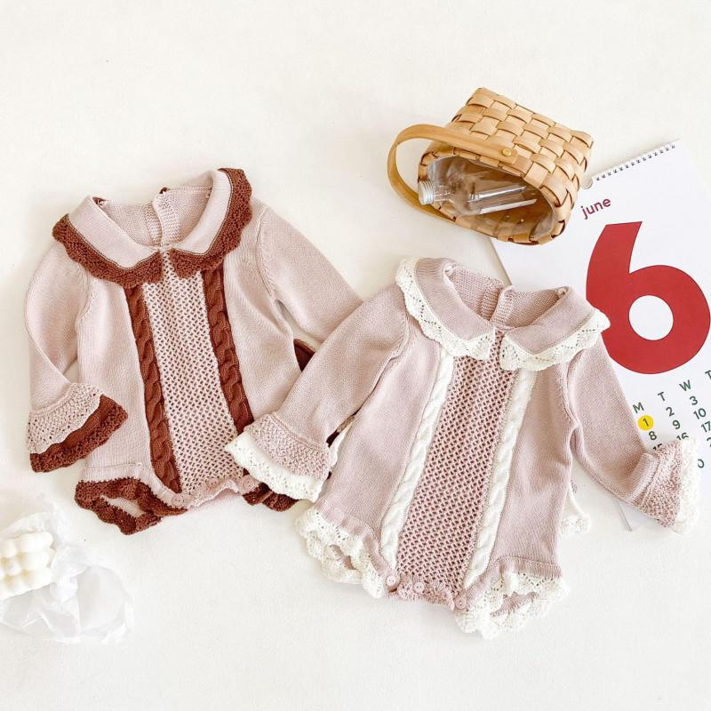 Baby Bodysuits Fashion Solid Cotton Knitted Newborn Girls Bodysuits 0-24M Infant Sweater Jumpsuits Outfits Children Clothes 1