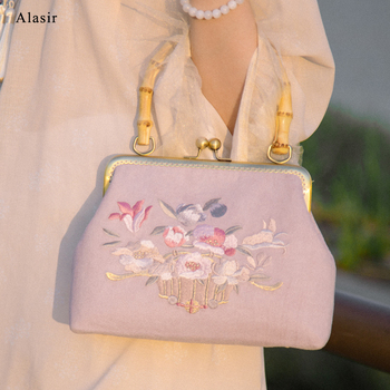 Alasir Flower Original Women Handbags Hand-made Bamboo Handle Chinese Style Embroidery Frame Bag Floral Vintage Ladies Hand Bag