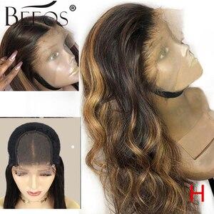 """Image 1 - Beeos высокое соотношение 4*4 Кружева Закрытие человеческих волос парик объемная волна цвет волос 180% бразильские волосы Remy 8 """" 26"""""""