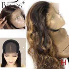 """Beeos peluca de cabello humano con cierre de encaje, alta relación, 4x4, onda corporal, Color resaltado, cabello Remy 180% brasileño, 8 """" 26"""""""