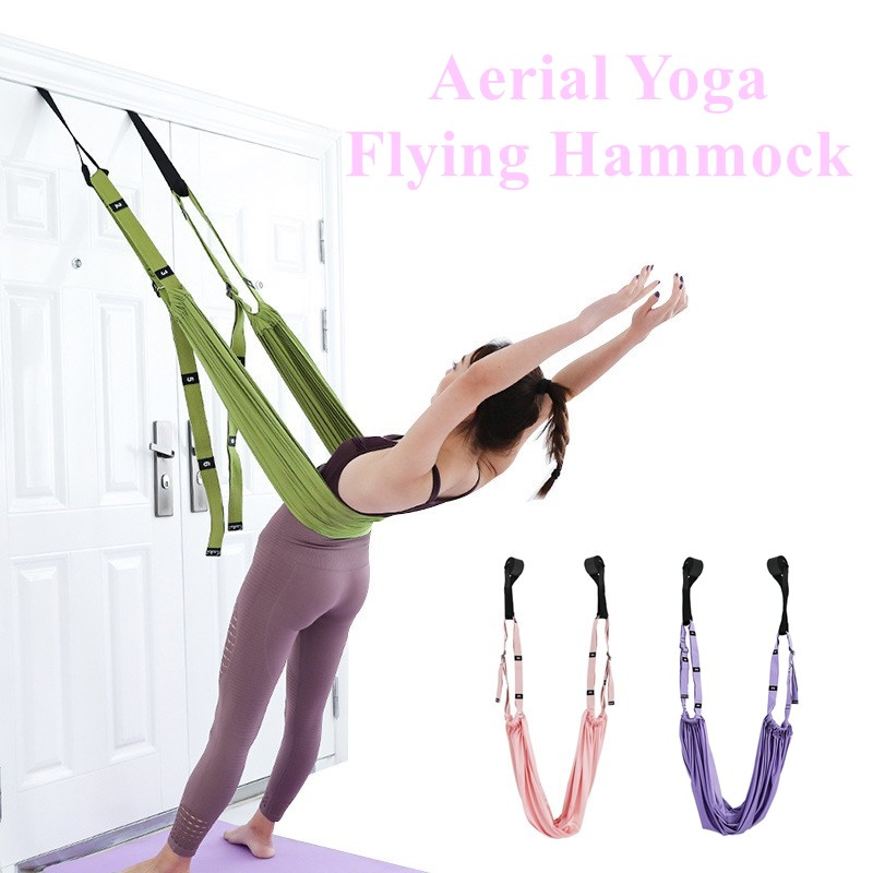 Adjustable Aerial Yoga Strap Hammock Swing Stretching Anti-gravity Inversion Exercises Multilayer Belt Door Flexibility Trainer
