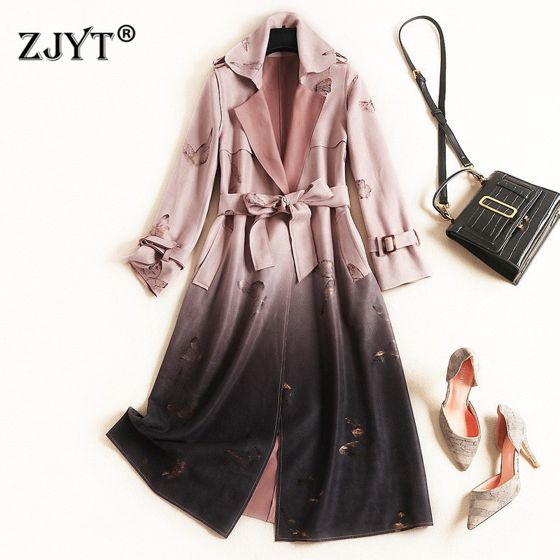 Runway Designer Autumn Winter Long   Trench   Coat for Women 2019 Fashion Long Sleeve Butterfly Print Suede Leather Coats Outerwear