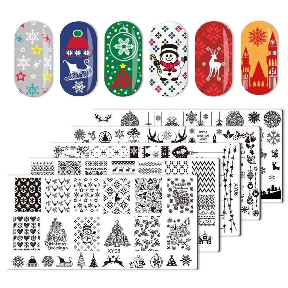 Штамповочные пластины для ногтей микс рождественских снежинок Санта Клаус