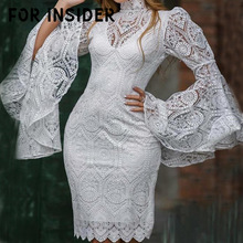 For Insider Flare sleeve lace white short dress Office lady autumn winter bodycon Elegant embroidery two pieces set