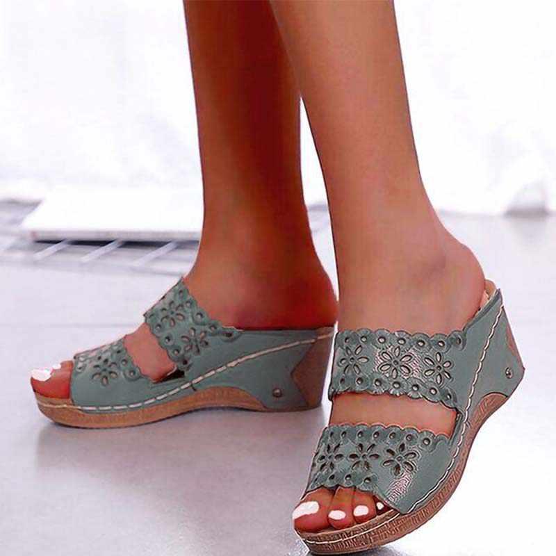 Ayakkabı kadın sandalet plaj ayakkabısı üzerinde kayma moda gladyatör sandalet kadın kalın alt ayakkabı düz sandalet kadın artı boyutu