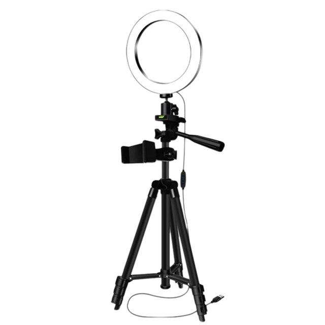 חצובות Selfie מקל עם טבעת למלא אור Dimmable טבעת Led מנורת סטודיו מצלמה טבעת אור תמונה טלפון וידאו אור מנורה