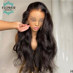Image 3 - גלי שיער טבעי פאות ארוך הודי רמי שיער Glueless 13*6 תחרה מול פאה עבור נשים טבעי צבע 130% וflowerseason