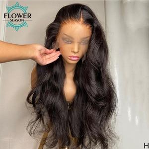 Image 3 - 波状人毛ウィッグロングインドの remy 毛グルーレス 13*6 レースの前部かつら自然な色 130% flowerseason