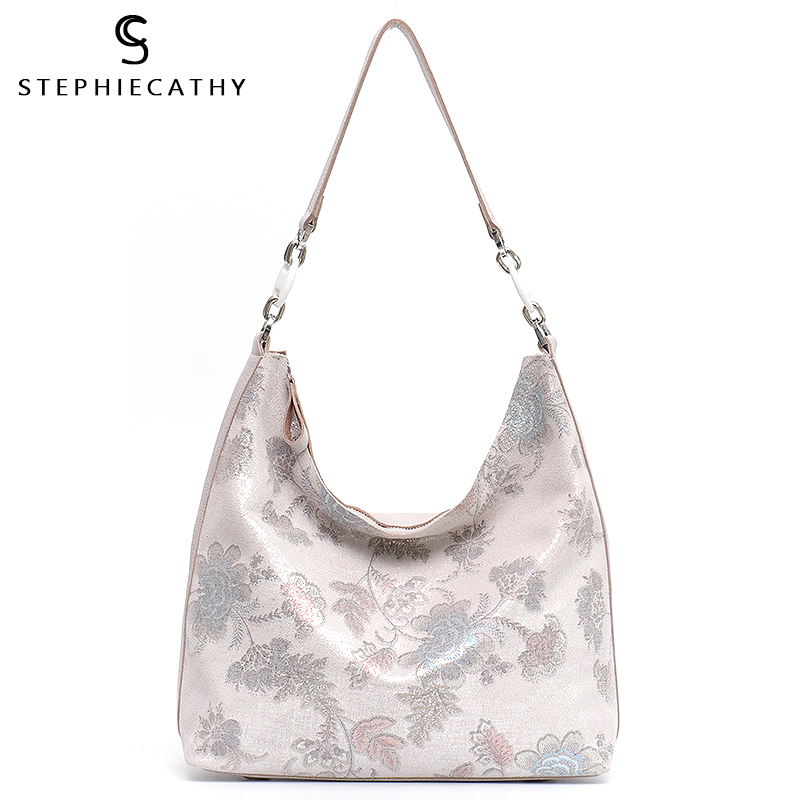 SC Luxury Cowhide Women Hobo Ladies Fashion Style Shiny Floral Pattern Tote Shoulder Bags Female Crossbody Bags Leather Handbag