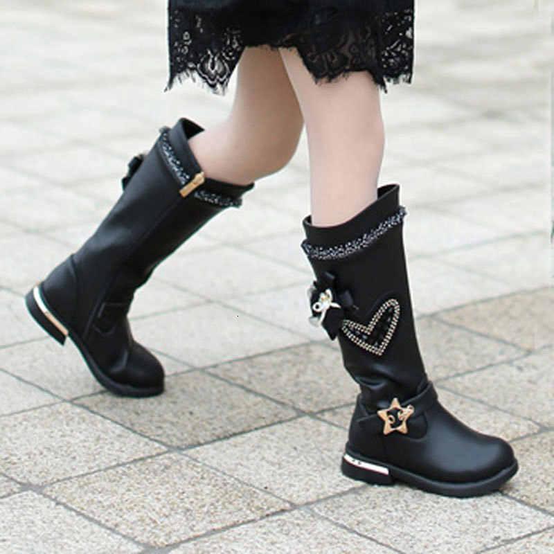 สาว Elegant คริสตัลสีดำสีแดง Non-SLIP PU หนังรองเท้ารหัส 26-37 ยาวเจ้าหญิงฤดูใบไม้ผลิฤดูหนาวกลางลูกวัวรองเท้าบูท
