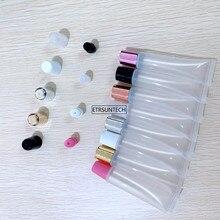50 Uds. 5ml 10ml 15ml 20ml tubo de lápiz labial vacío bálsamo labial maquillaje suave Squeeze Sub bottling, plástico transparente brillo labial contenedor F606