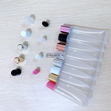 50pcs 5ml 10ml 15ml 20ml Empty Lipstick Tube Lip Balm Soft Makeup Squeeze Sub bottling,Clear Plastic Lip Gloss Container F606
