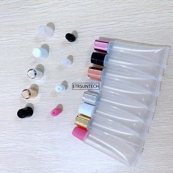 50pcs 5ml 10ml 15ml 20ml Empty Lipstick Tube Lip Balm Soft Makeup Squeeze Sub-bottling,Clear Plastic Lip Gloss Container F606