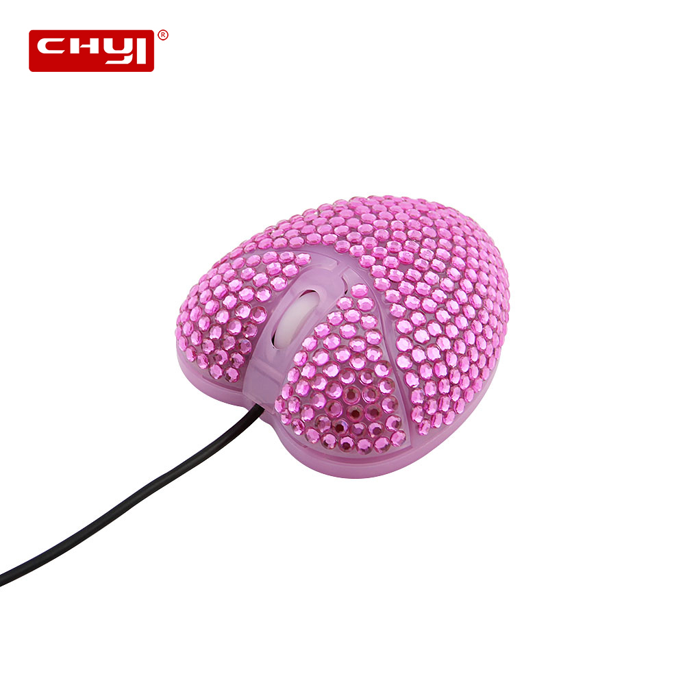 CHYI Wired Pink Love Heart Diamond Mouse USB Optical Mice 1000 DPI PC Compter Ergonomic Mause For Girls Kids PC Laptop Notebook