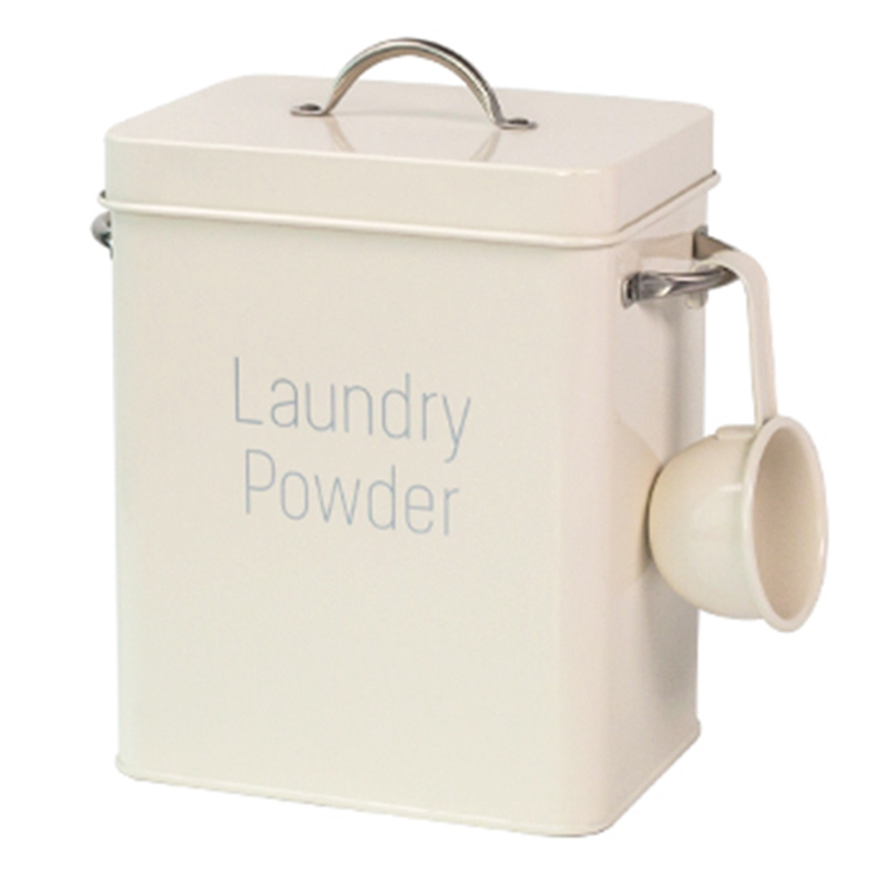 Beautiful Powder Laundry Powder Boxes Storage With Scoop White