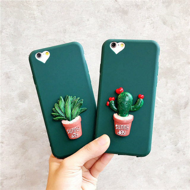 3D Cactus Plants & Art Green Leaf Design Soft TPU Phone Cases For iPhone 11Pro XS MAX XR