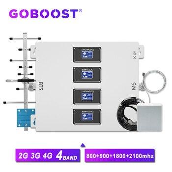 GOBOOST LTE 800 900 1800 2100 mhz amplificador celular de 4 bandas amplificador de señal gsm 2g 3g 4g repetidor de red de internet para teléfono móvil