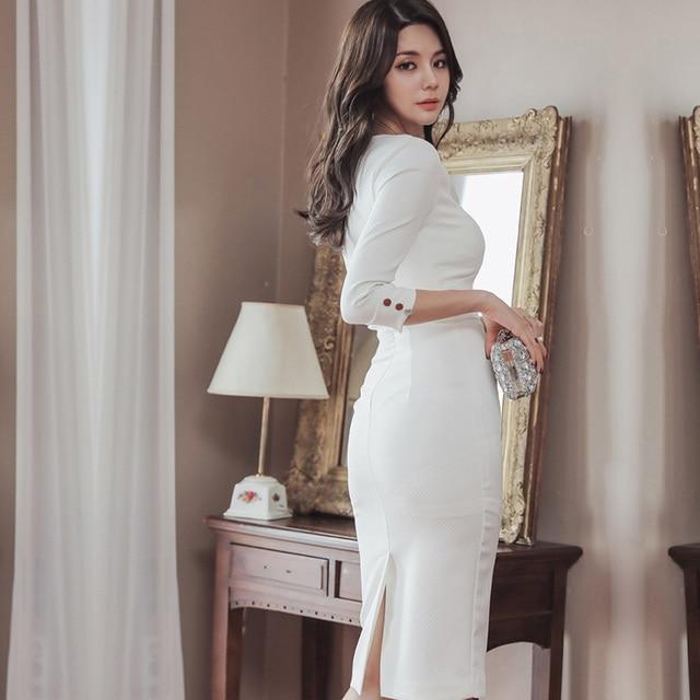 Business Office Dress 2020 Spring White Comfortable High Waist Slim Pencil Dress V-Neck Five-Sleeve Elegant Women's Party Dress 1