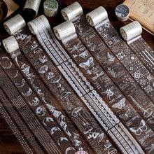 Plantas Vintage seta cinta decorativa Washi cinta blanca transparente insectos fase Luna pegatinas cinta adhesiva decoración DIY planificador