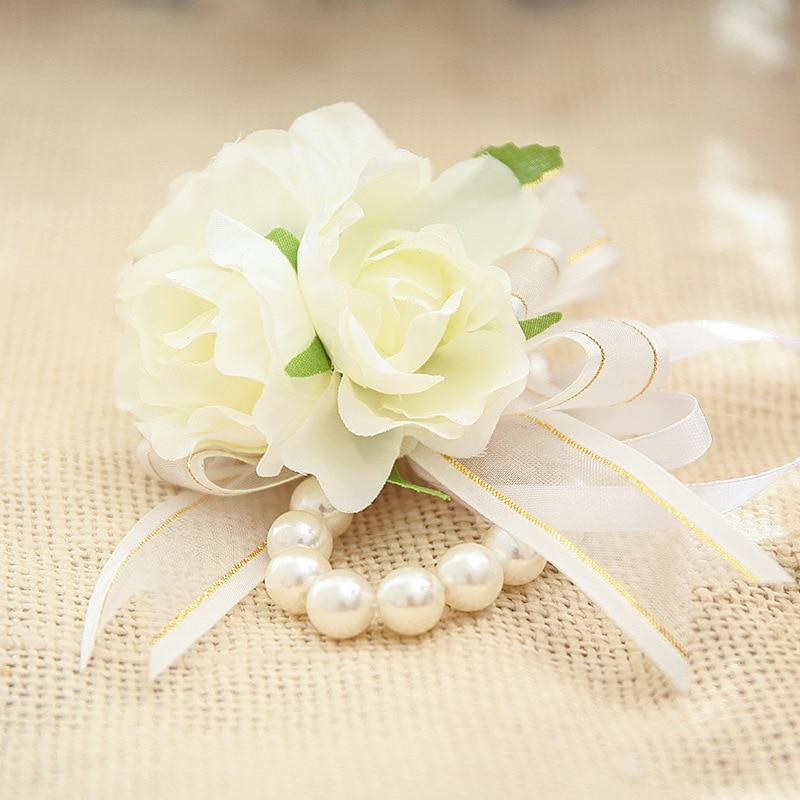 Flower Girl Bracelet White Pearl Wrist Flower for Wedding Bride Bridesmaid Silk Rose Hand Wrist Flowers Wedding Accessories Gift
