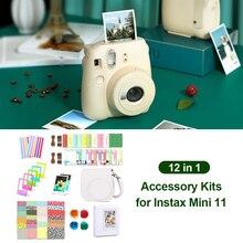 ل Fujifilm Instax Mini 11 اكسسوارات 12 في 1 حزمة مجموعة بو الجلود كاميرا حافظة غطاء حقيبة كتف ألبوم إطارات الصور ملصقات