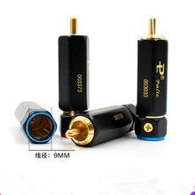 8PCS PAILICCS PR 109 gold überzogene abschließbar solder freies RCA lotus stecker audio kabel AV lotus plug power verstärker signal linie stecker