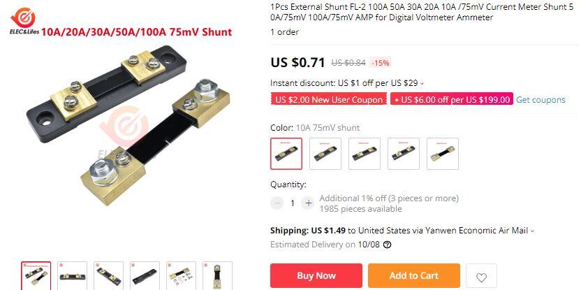H72979d3bbdf34beeab0868fa69c8dfaaJ DC 0-100V 10A 50A 100A Electronic Digital Voltmeter Ammeter 0.56'' LED Display Voltage Regulator Volt AMP Current Meter Tester