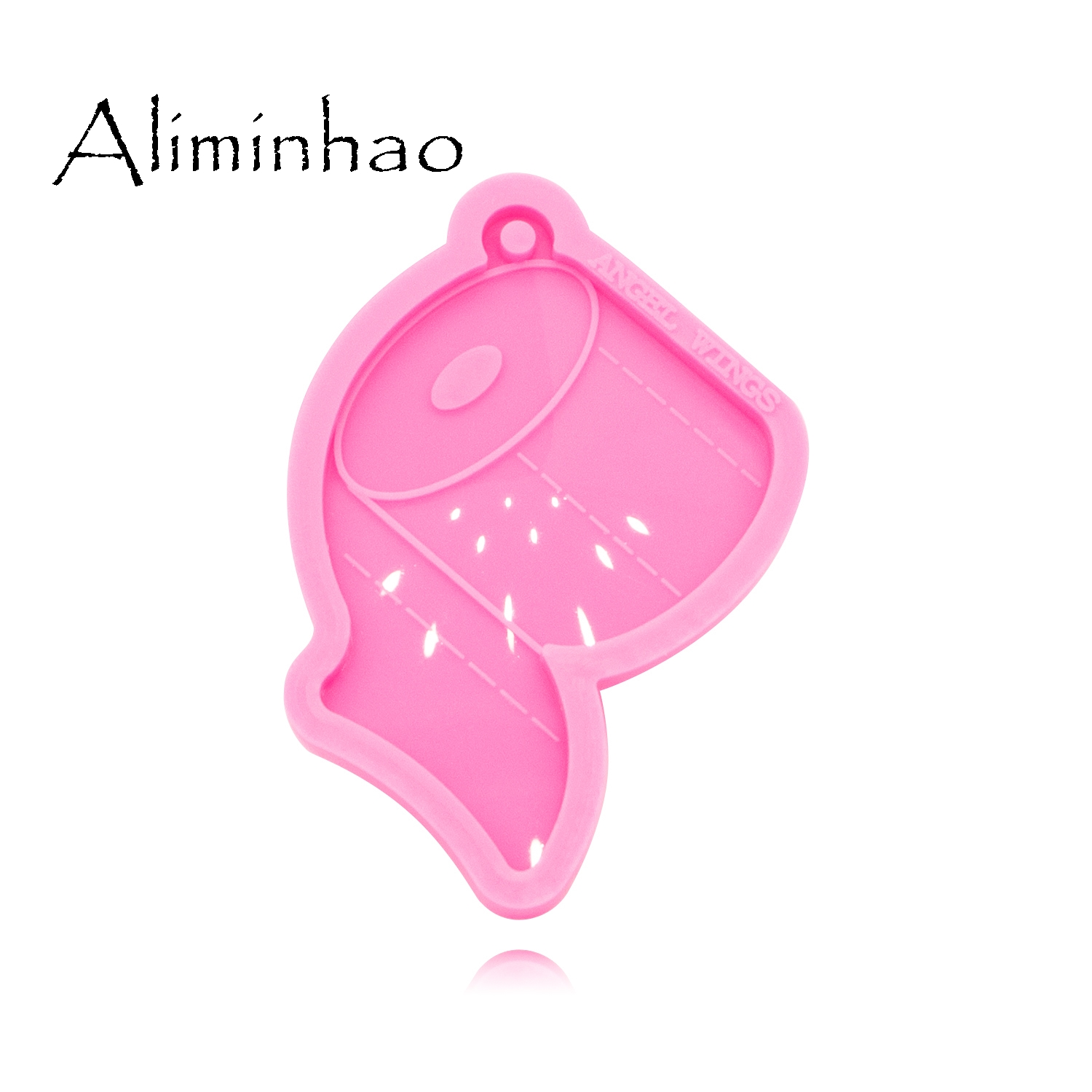 DY0463 Shiny Glossy Toilet Paper Shape Necklace Jewelry Epoxy Silicon Mould Crafting Keychain Resin Silicone Mold