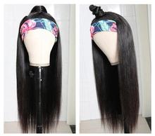Prosto z pałąkiem na głowę peruki ludzki włos naturalny bezklejowy peruka maszyna wykonana z ludzkich włosów peruki dla kobiet Remy włosy 150 Dentisy tanie tanio maxine CN (pochodzenie) VIRGIN HAIR Proste Brazylijski włosy Średnia wielkość Wszystkie kolory Elastyczne koronki Straight Human Hair Wig