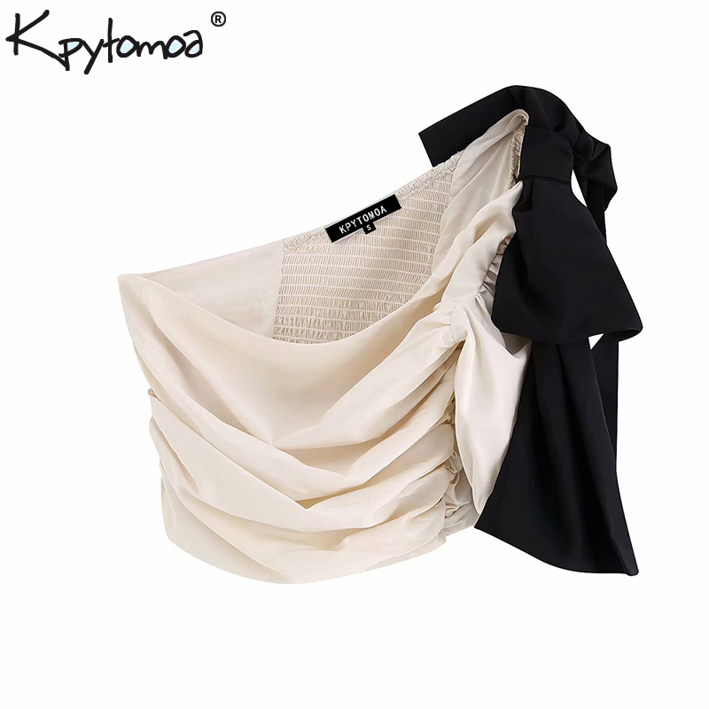 Vintage Sexy One Shoulder Bow Tie Pleated Tops Women Blouses 2019 Fashion Asymmetric Neck Side Zipper Back Elastic Shirts Blusas