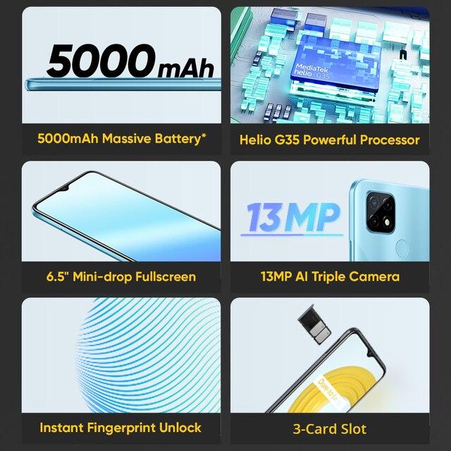 "[World Premiere In Stock] Global Version realme C21 Smartphone Helio G35 Octa Core 64GB 6.5""display 5000mAh battery 3-Card Slot 2"