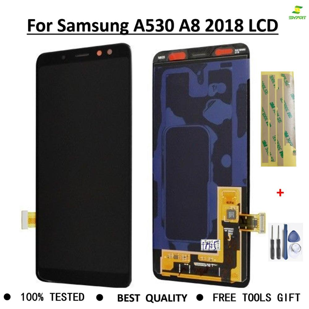 <font><b>Screen</b></font> Super Amoled For <font><b>Samsung</b></font> <font><b>Galaxy</b></font> <font><b>A8</b></font> 2018 A530 <font><b>LCD</b></font> <font><b>Touch</b></font> <font><b>Screen</b></font> Digitizer NEW <font><b>Display</b></font> Assembly full parts + free gift image
