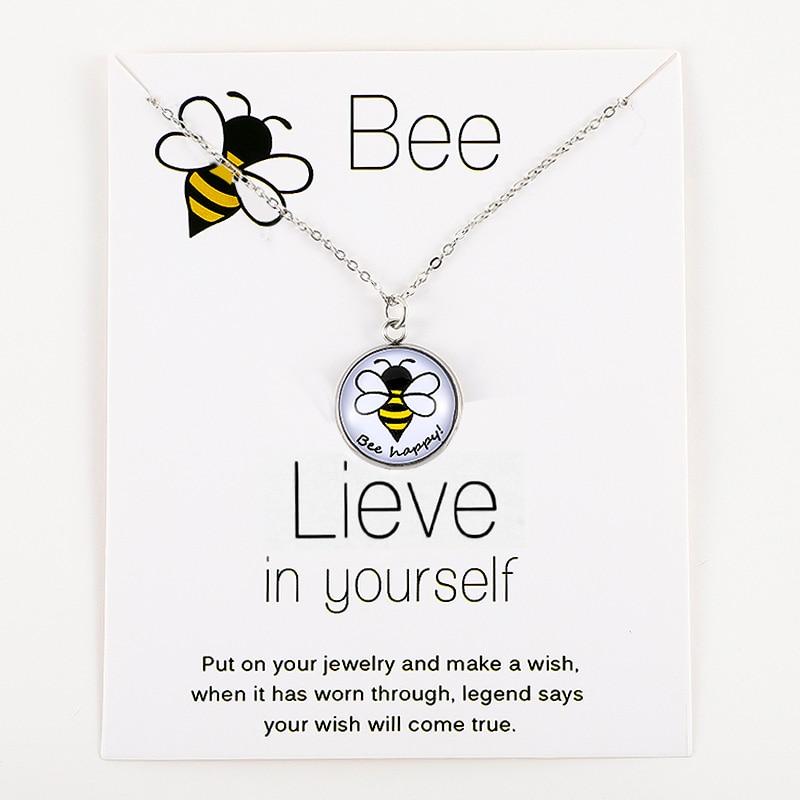 Honeybee Bee Happy Pendants Necklaces Unicorn Animal Silver Chain Women Men Unisex Trendy Jewelry Lover's Christmas Party Gift