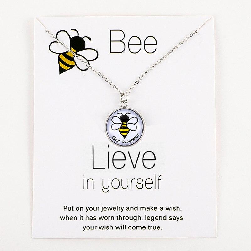 Honeybee Bee Happy Pendants Necklaces Unicorn Animal Silver Chain Women Men Unisex Trendy Jewelry Lovers Christmas Party Gift