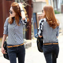 Wanita Retro Vintage Lengan Panjang Santai Graids Jean Denim Shirt Tops Blus(China)