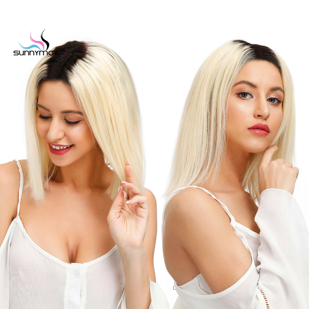 Sunnymay 13x4 1b 613 Ombre Human Hair Wigs with Baby Hair 130 Pre Plucked Short Bob