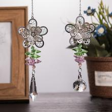 Set of 2 Crystal Flower Suncatcher Dreamcatcher Rainbow Glass Beads Yard Garden Hanging Pendant Home Wedding Decor Xams Gift